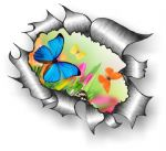 Ripped Torn Metal Design With Beautiful Butterflies Motif External Vinyl Car Sticker 105x130mm
